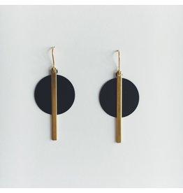 Brass Bar and Black Disc Earrings