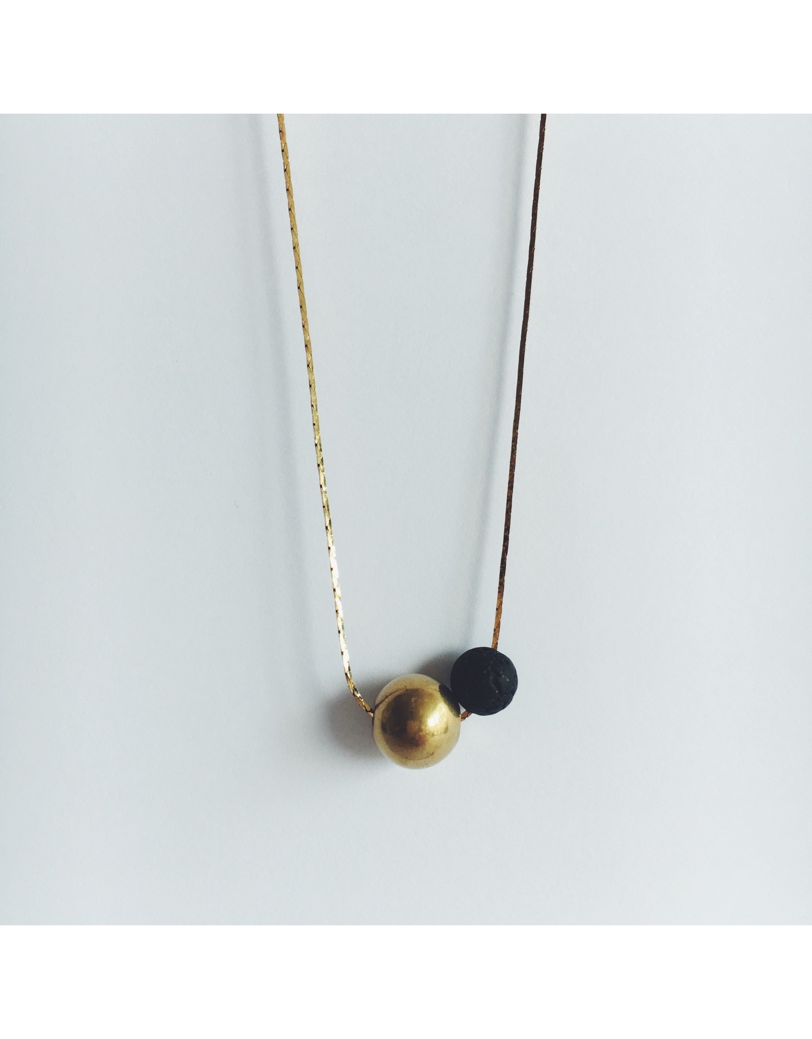 Brass Bead and Black Lava Bead Necklace