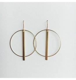 Brass Circle and Line Earrings