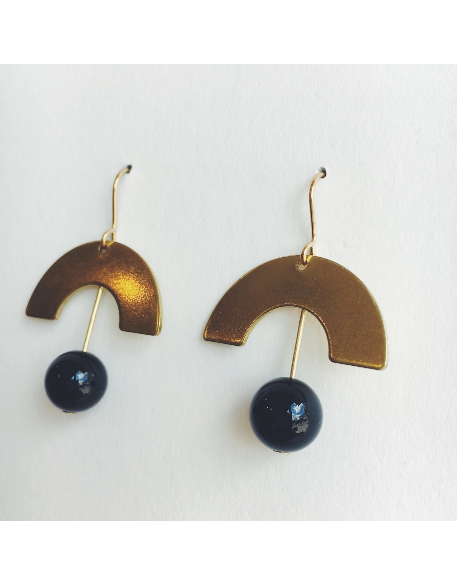 Brass Curve with Onyx Bead Earrings