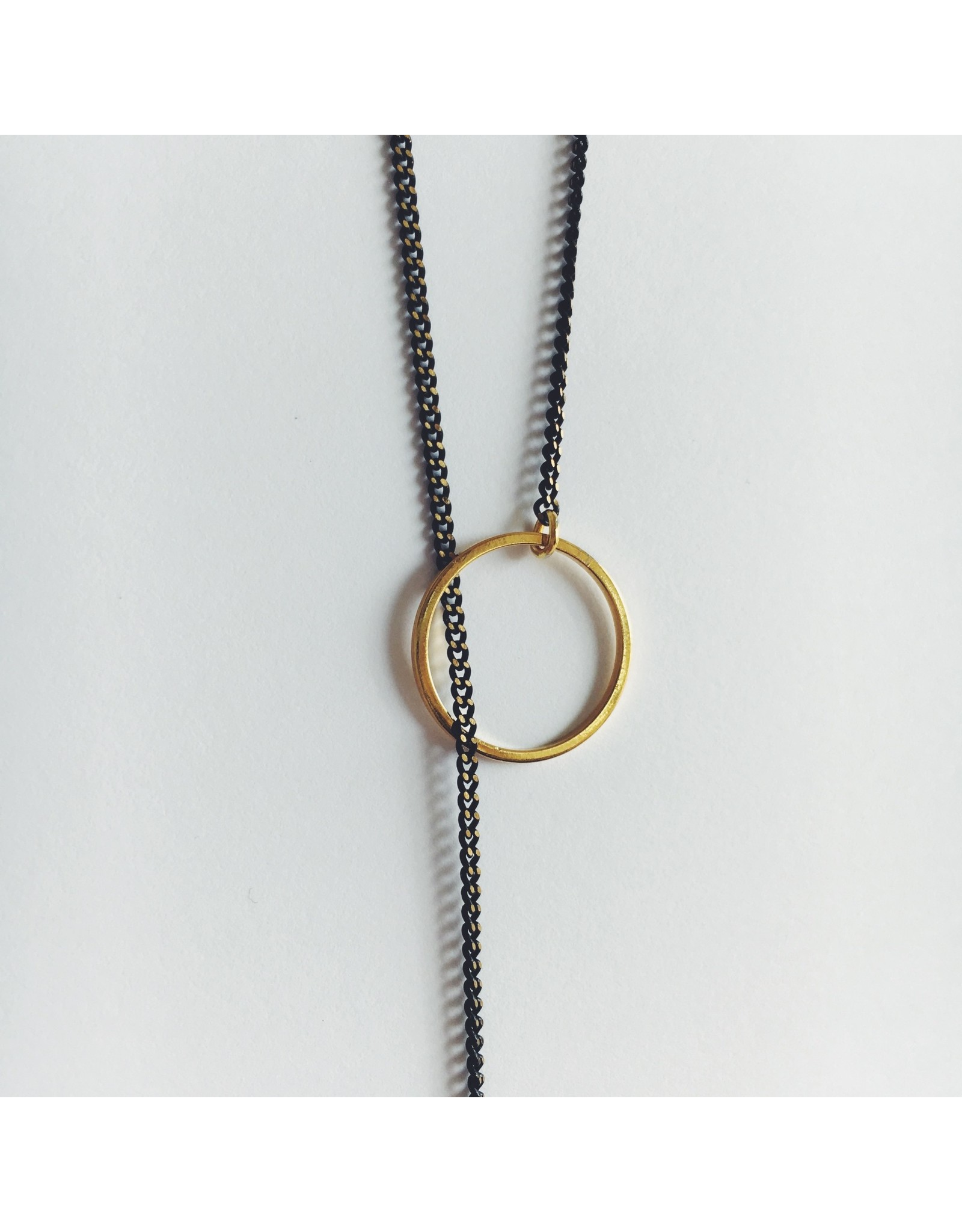 Brass Double Threaded Hoops Necklace