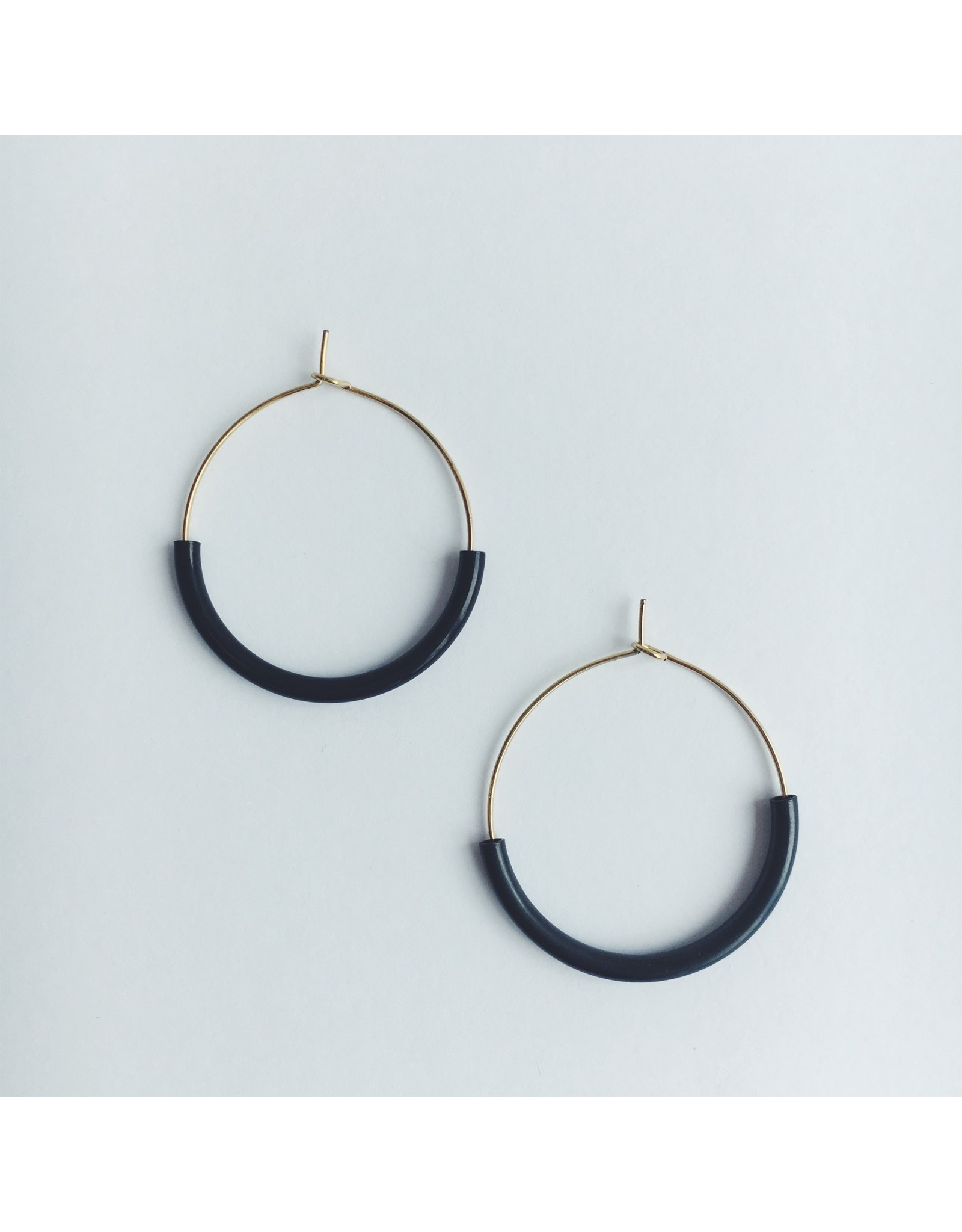 Brass & Black Hoop Earrings