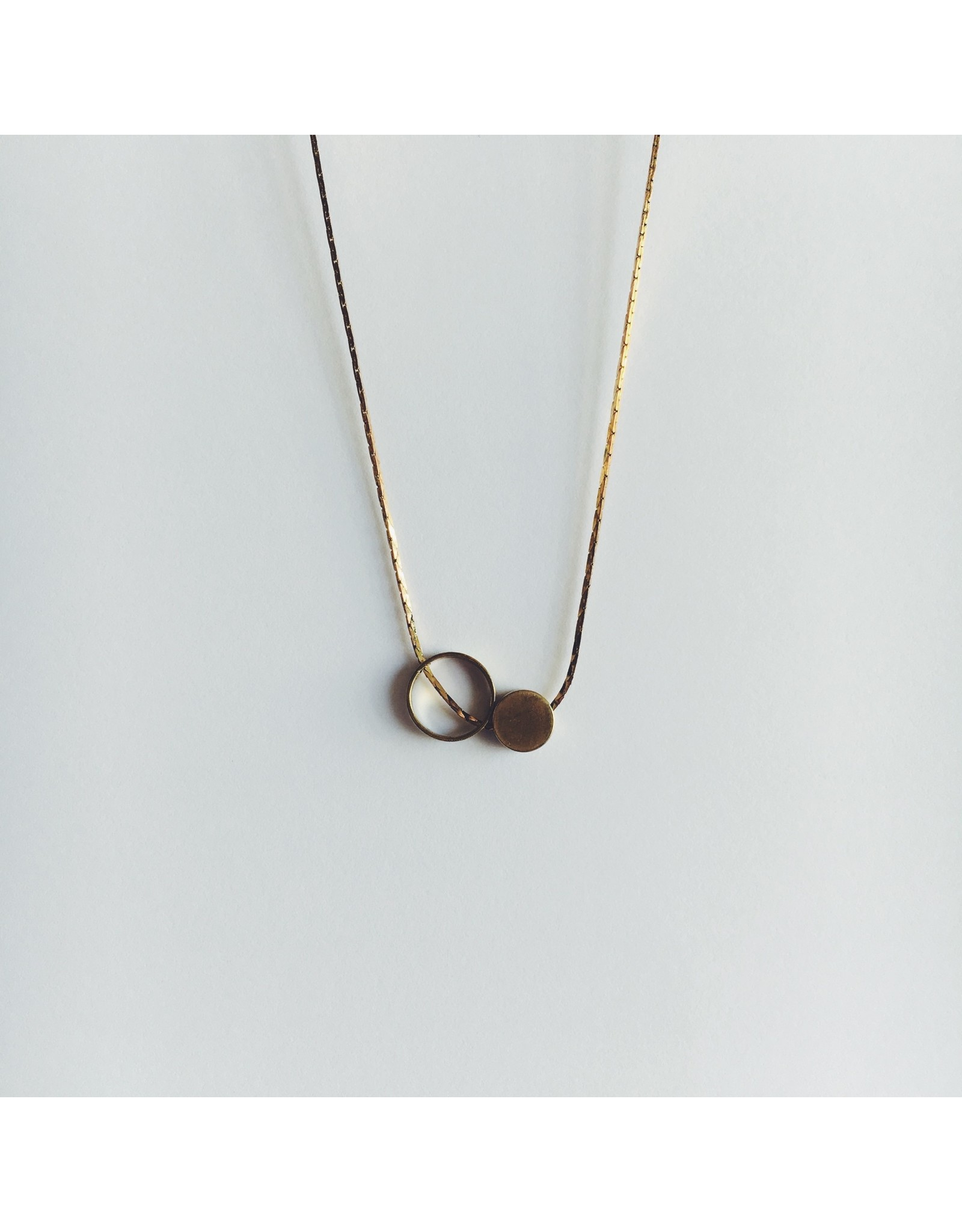Brass Ring and Small Disc Necklace