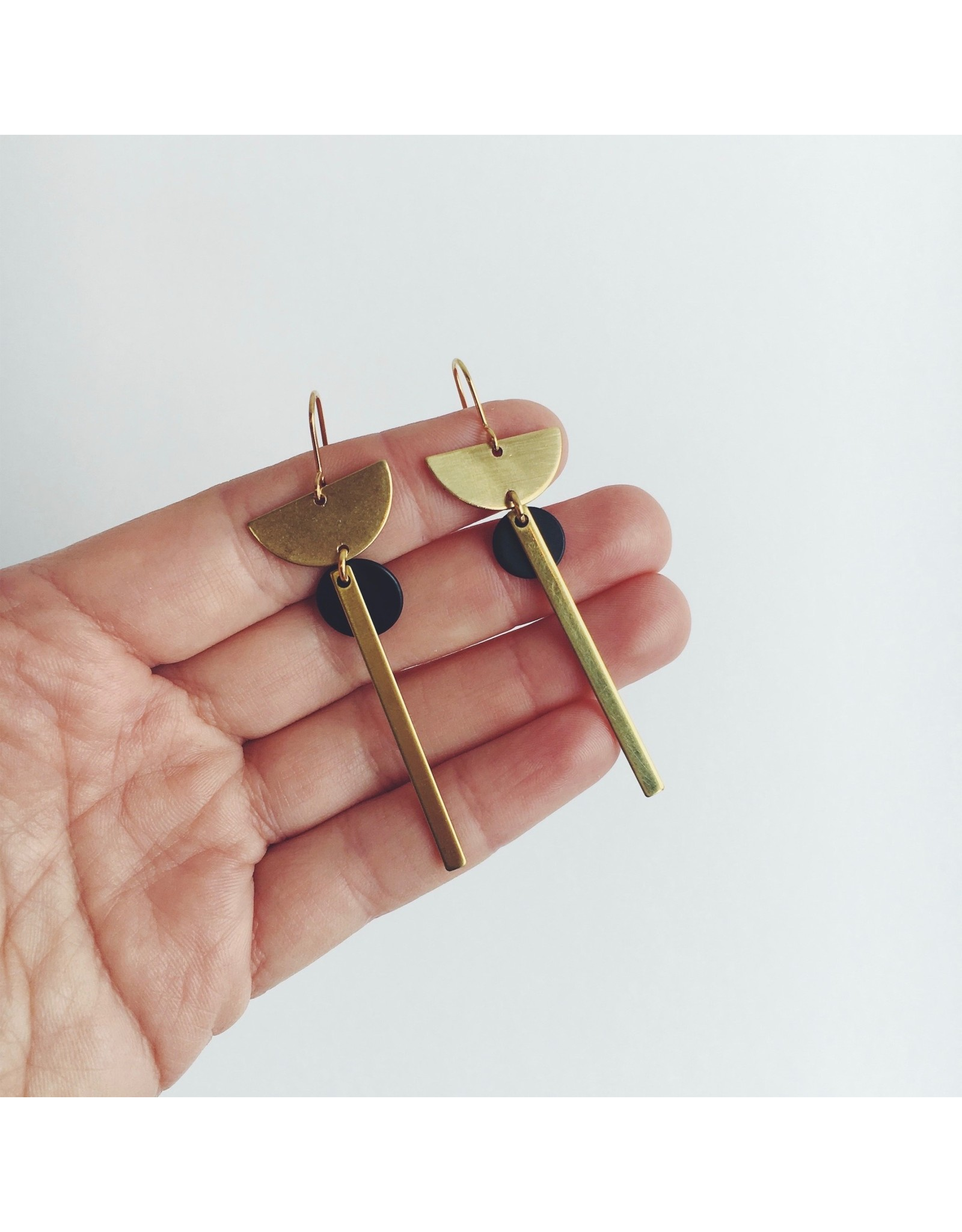 Brass Crescent and Line With Black Disc Earrings