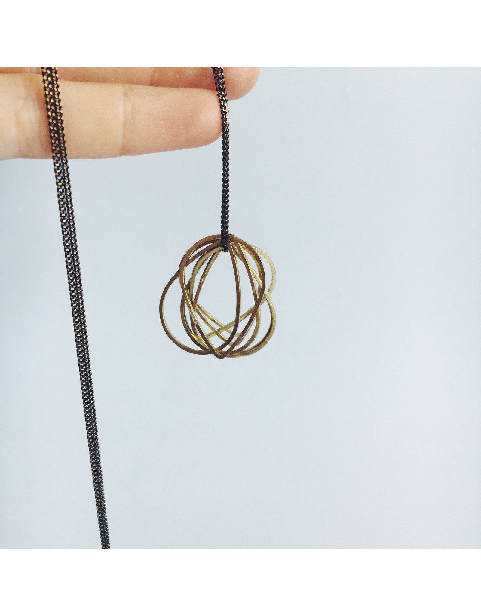 Brass Teardrop Cluster Necklace