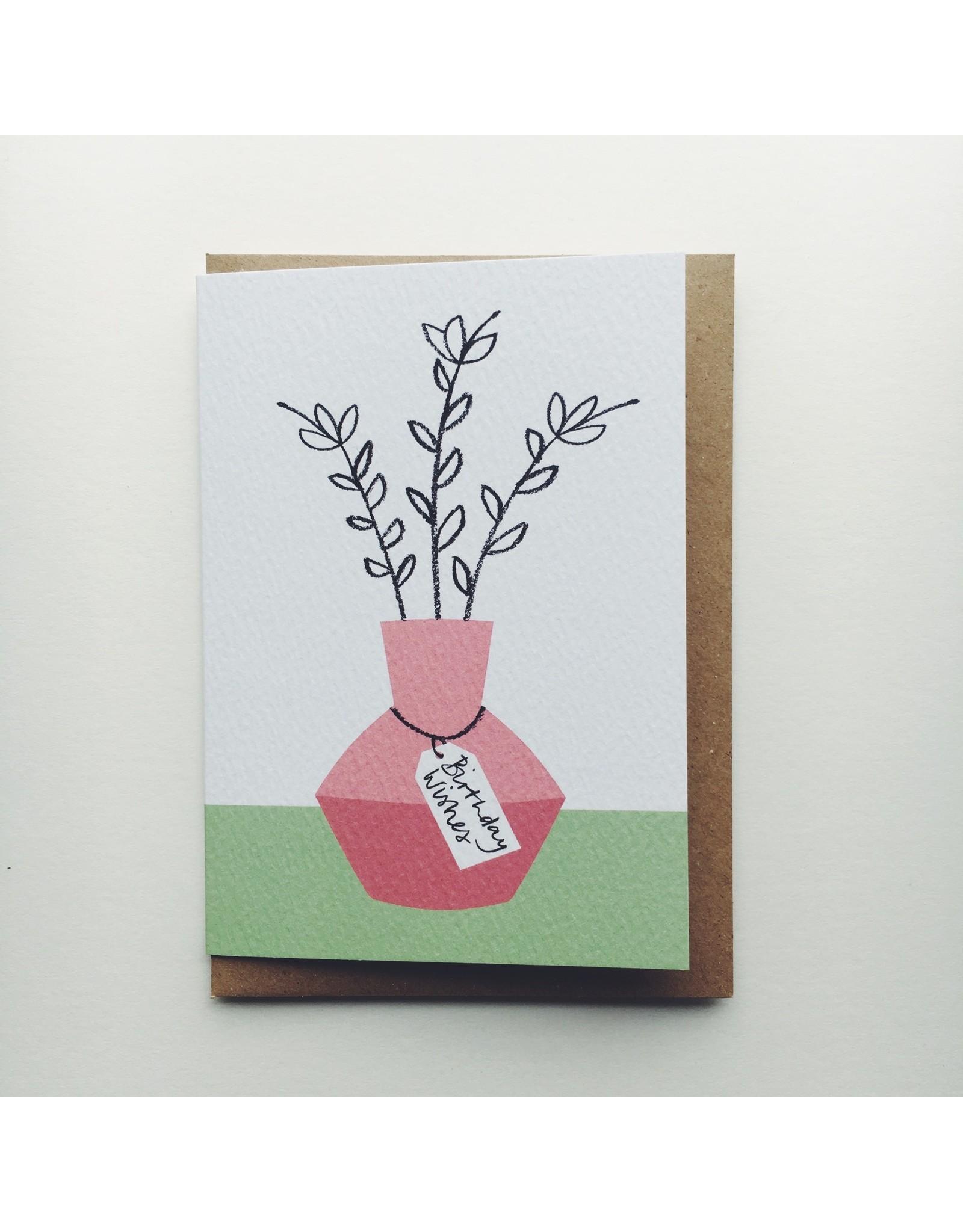 Birthday Wishes Pink Vase Card