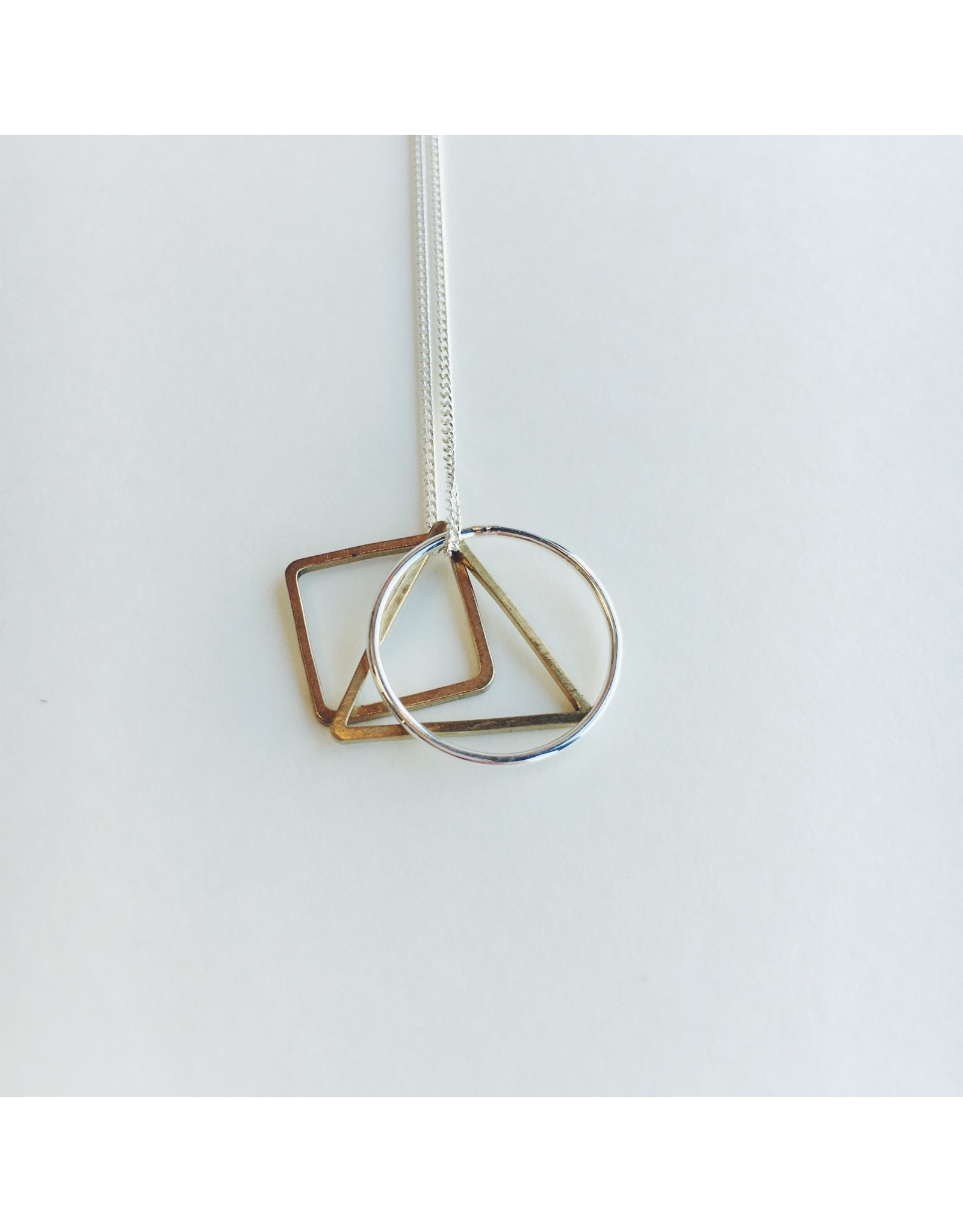Symmetry Silver and Brass Necklace