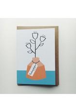 Thinking Of You Orange Vase Card