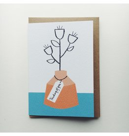 Thinking Of You Orange Vase Card