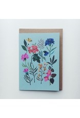 Summer Flowers and Leaves Greeting Card