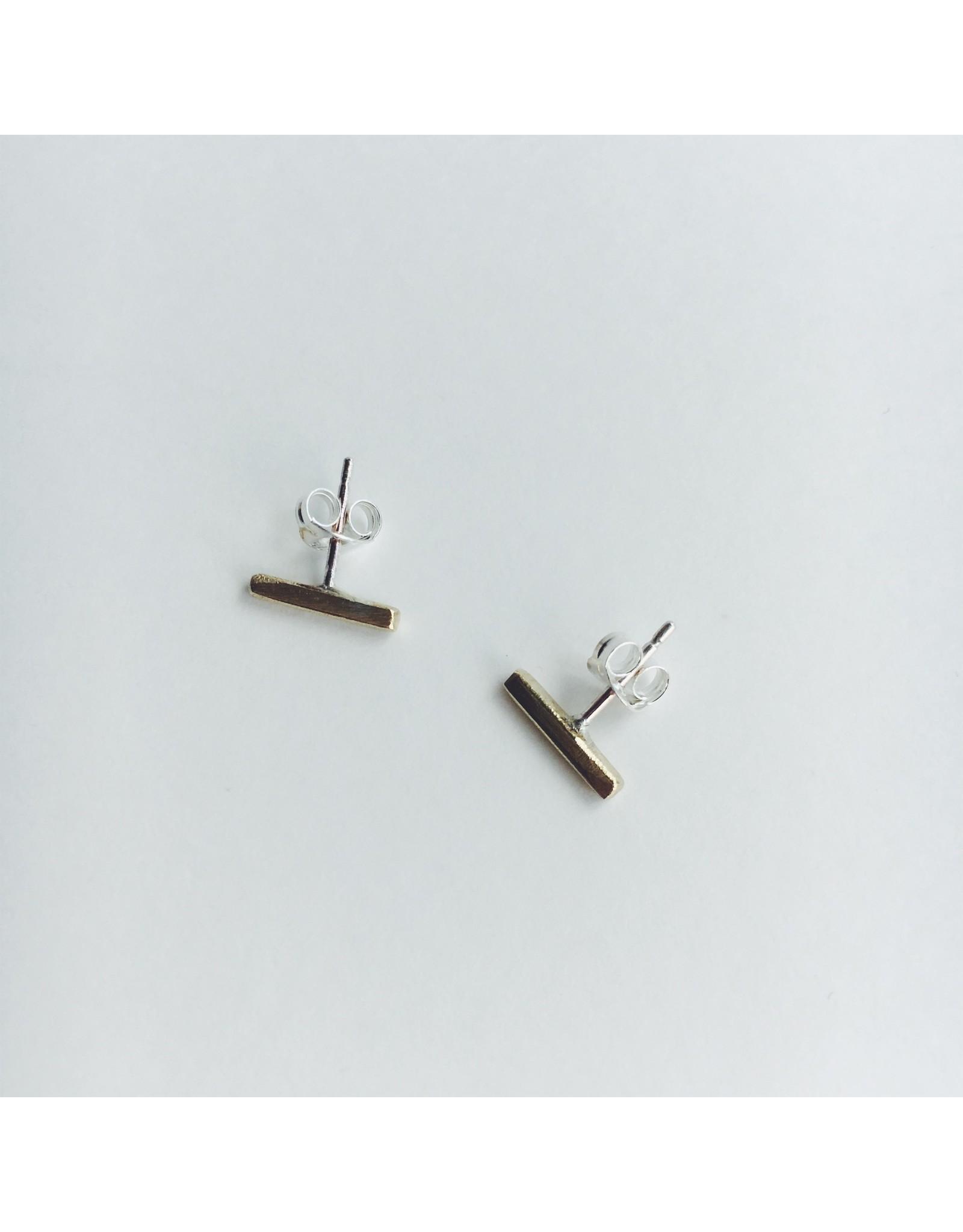 Brass Line Stud Earrings