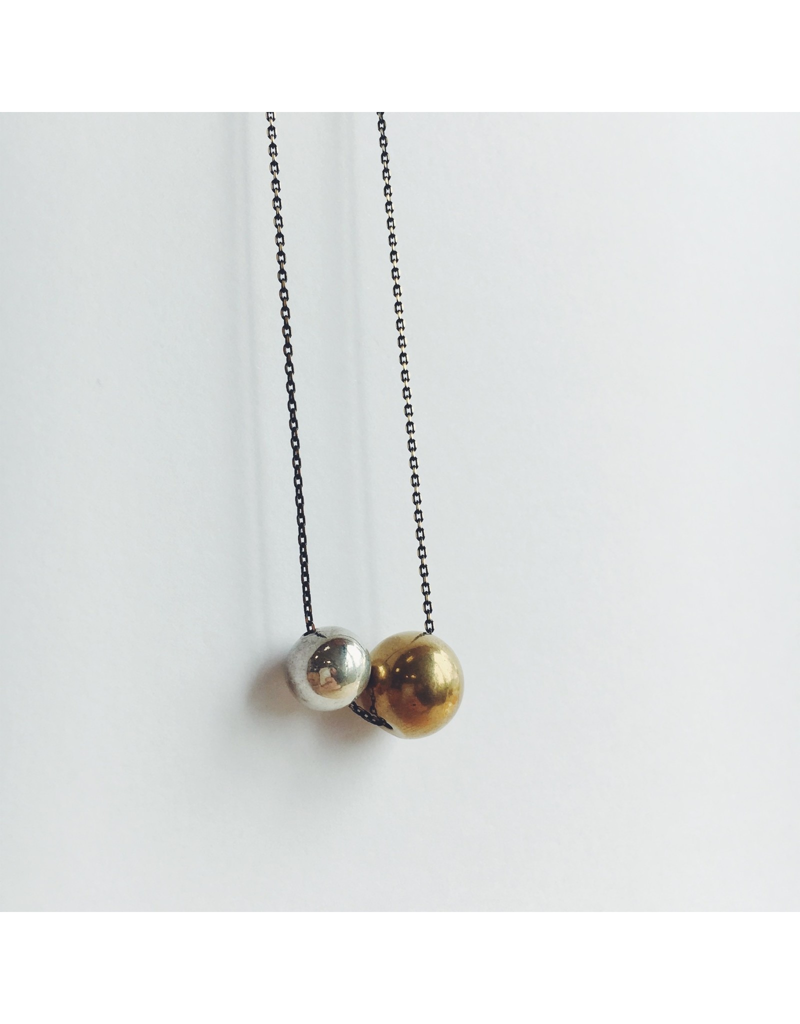 Brass Bead with Chrome Bead on Black Chain Necklace equi/004