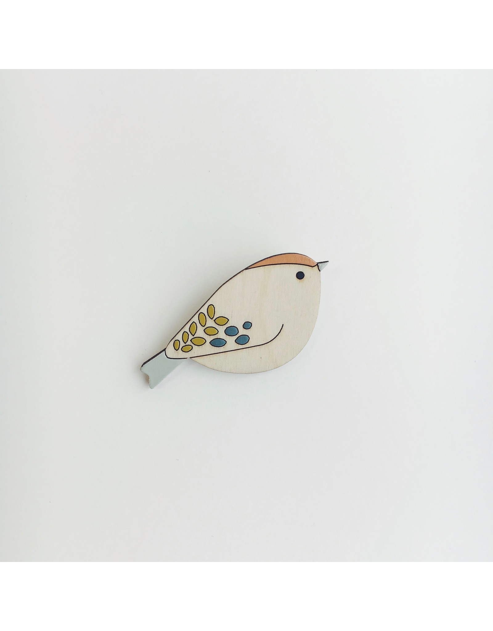 Wooden Bird Brooch