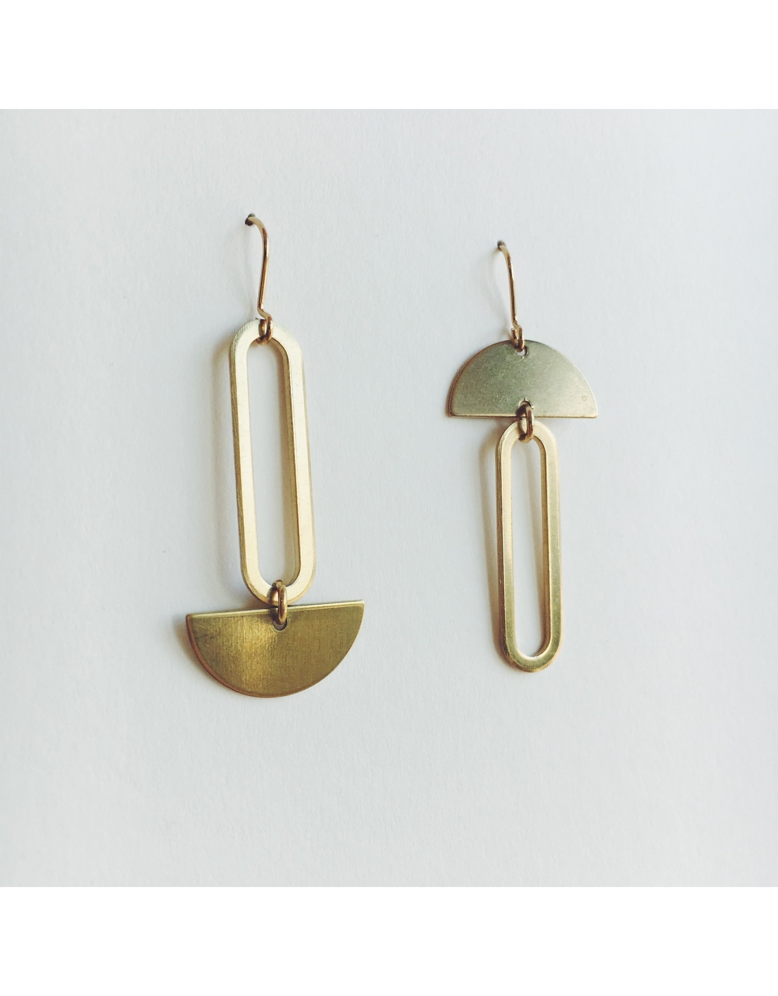 Brass Oval and Crescent Mixed Earrings