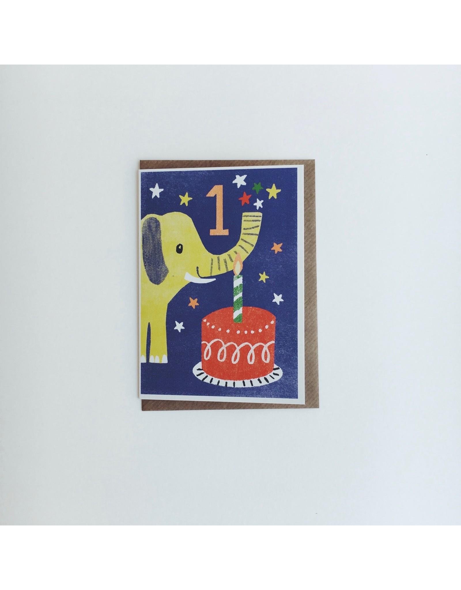 1st Birthday Elephant Card