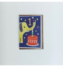 1st Birthday Elephant Card