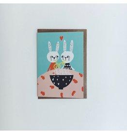 Spaghetti Rabbits Greeting Card
