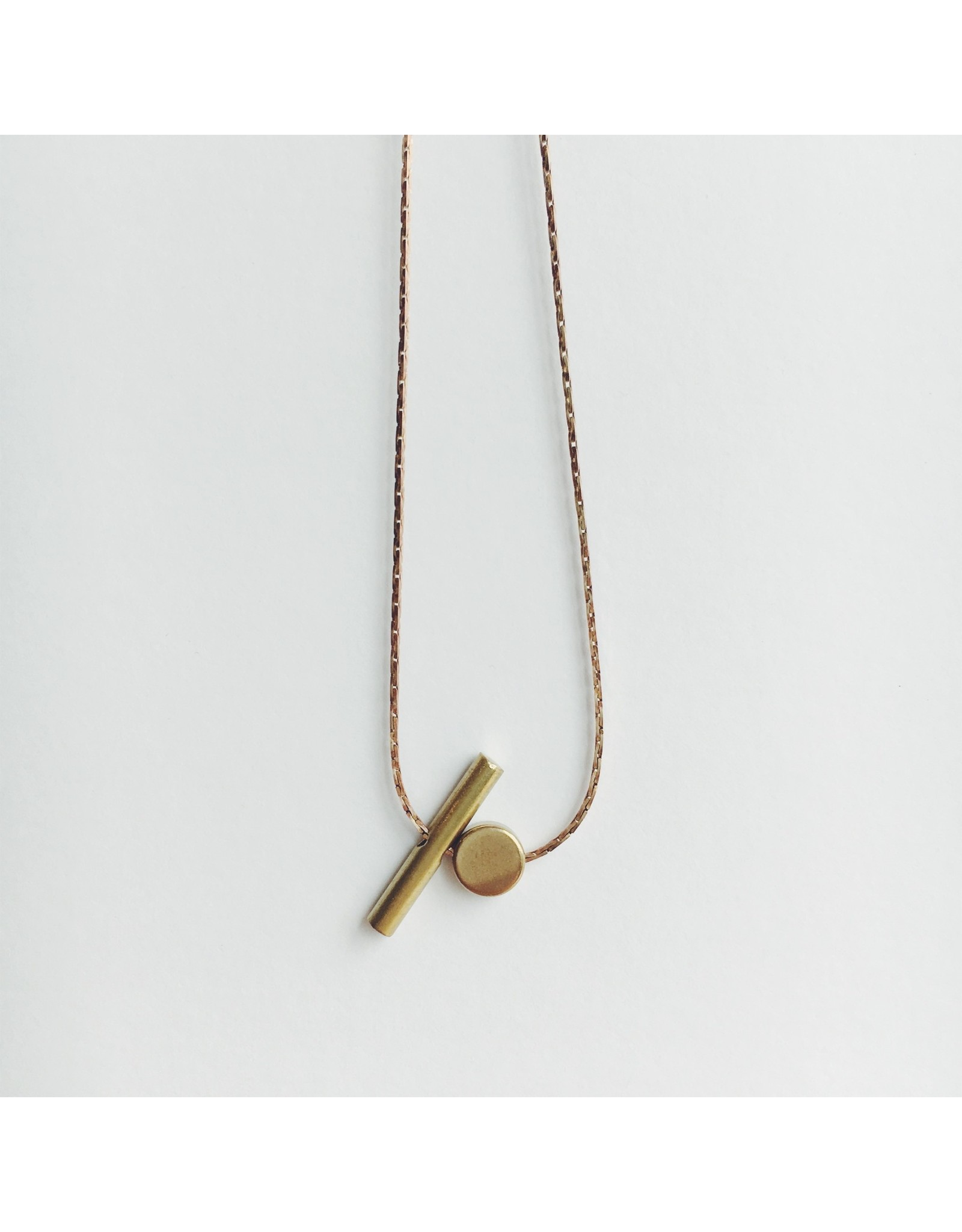 Brass Pill and Cylindrical Bar Necklace