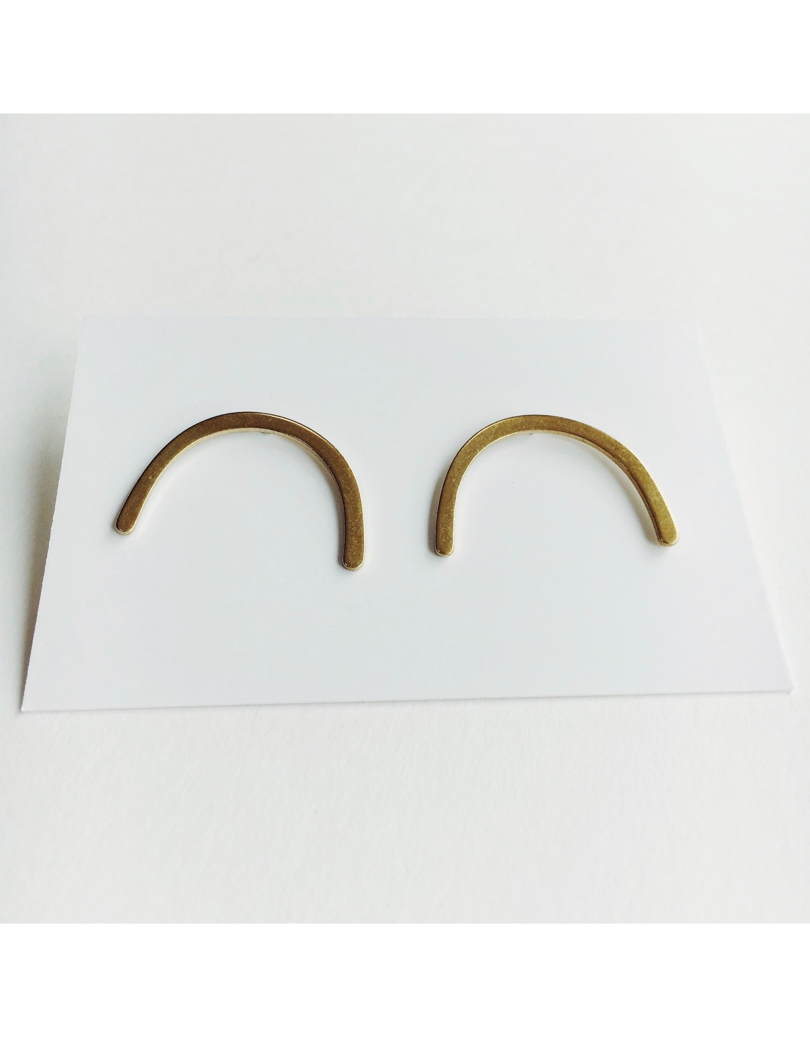 Curve Brass and Silver Stud Earrings