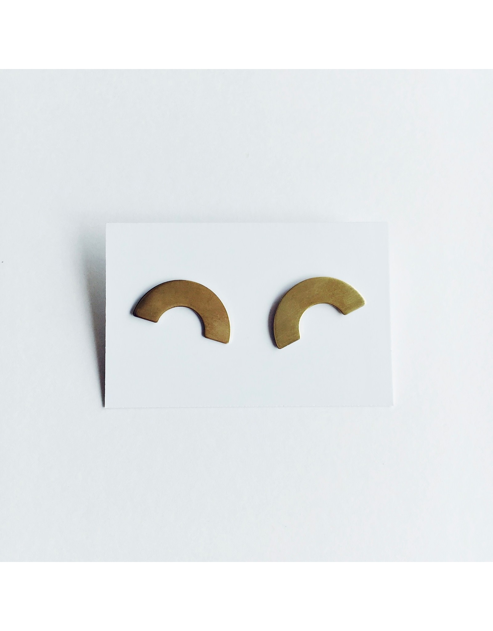Wide Curve Brass and Silver Stud Earrings