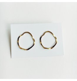 Wave Drop Stud Earrings