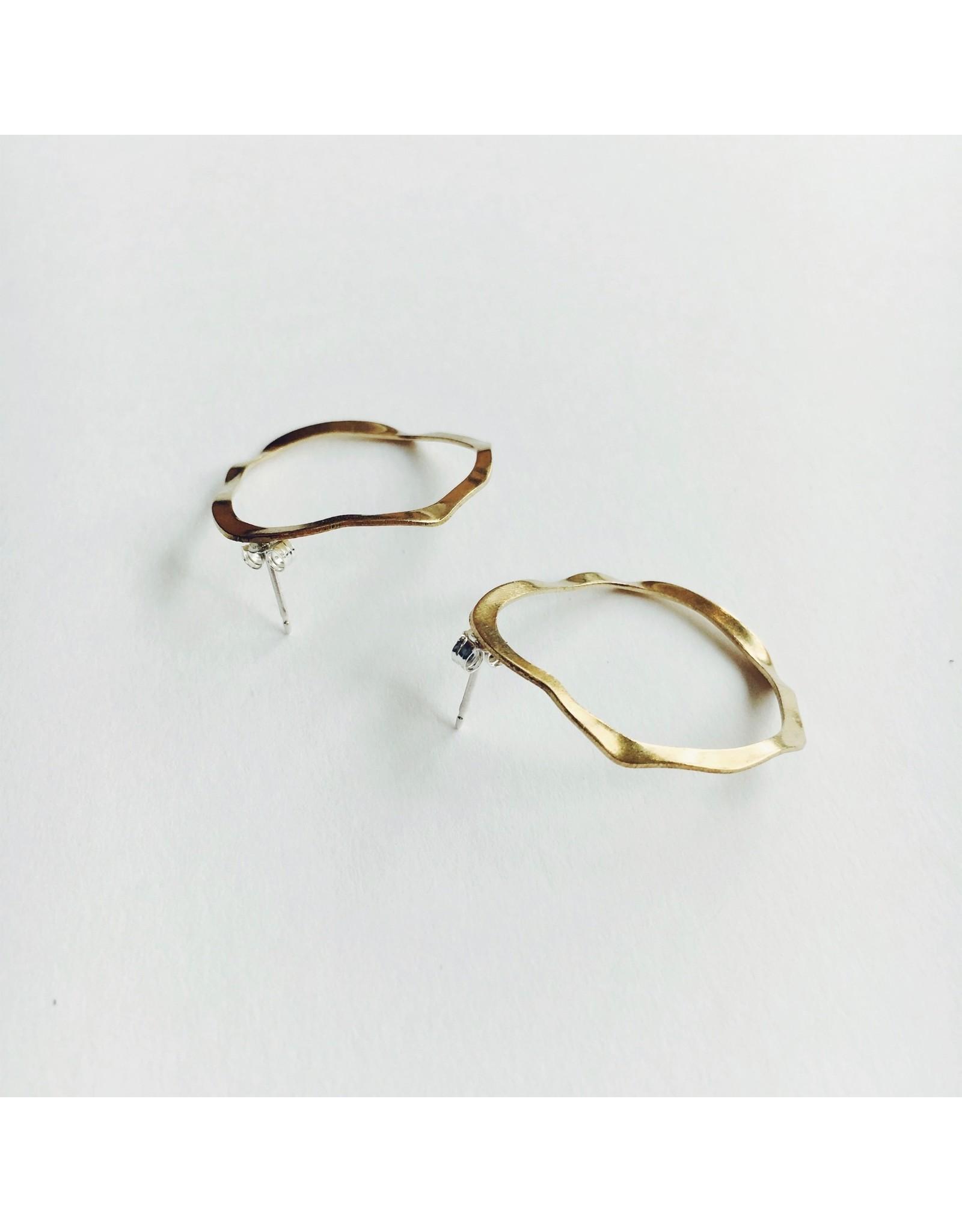 Wave Drop Stud Earrings