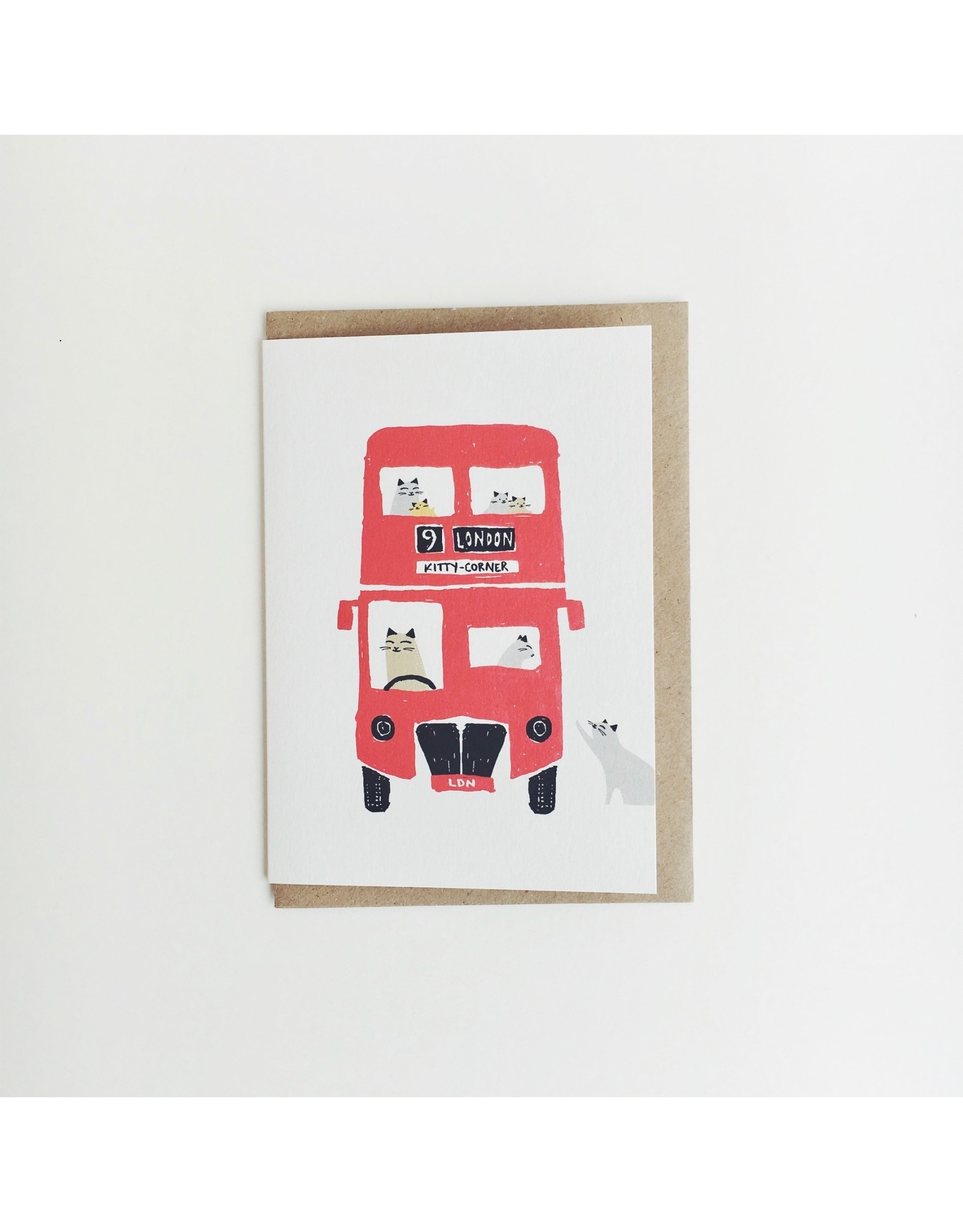 Cat Bus Greeting Card