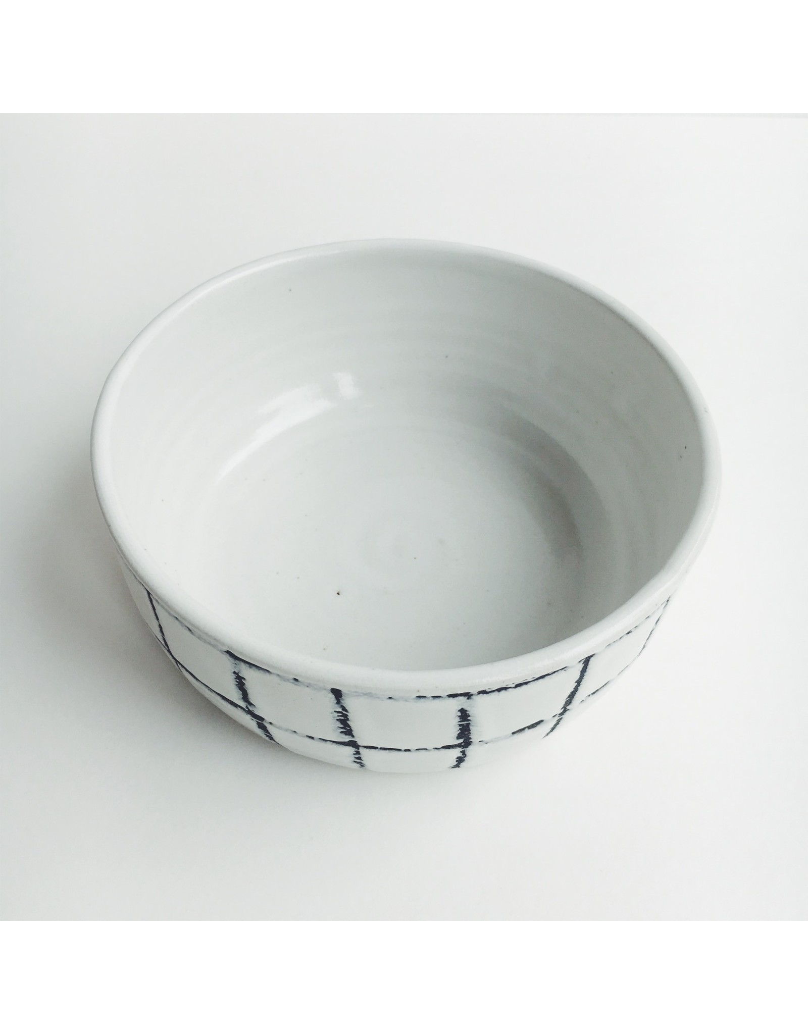 Hannah Bould Bowl White Grid