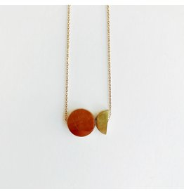 Brass Disc and Half Disc Necklace