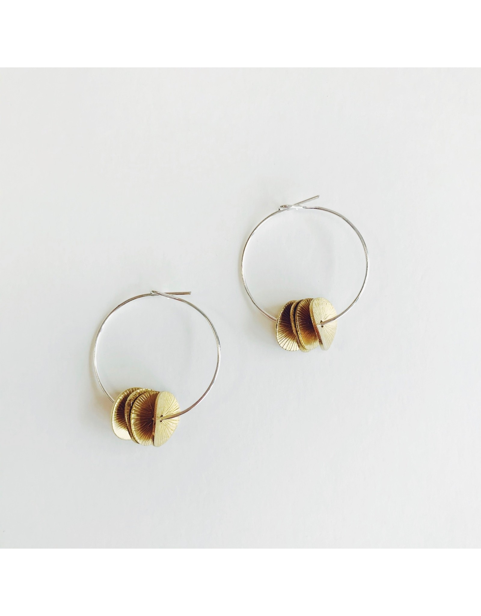 Silver Hoop Earrings with Brass Engraved Discs