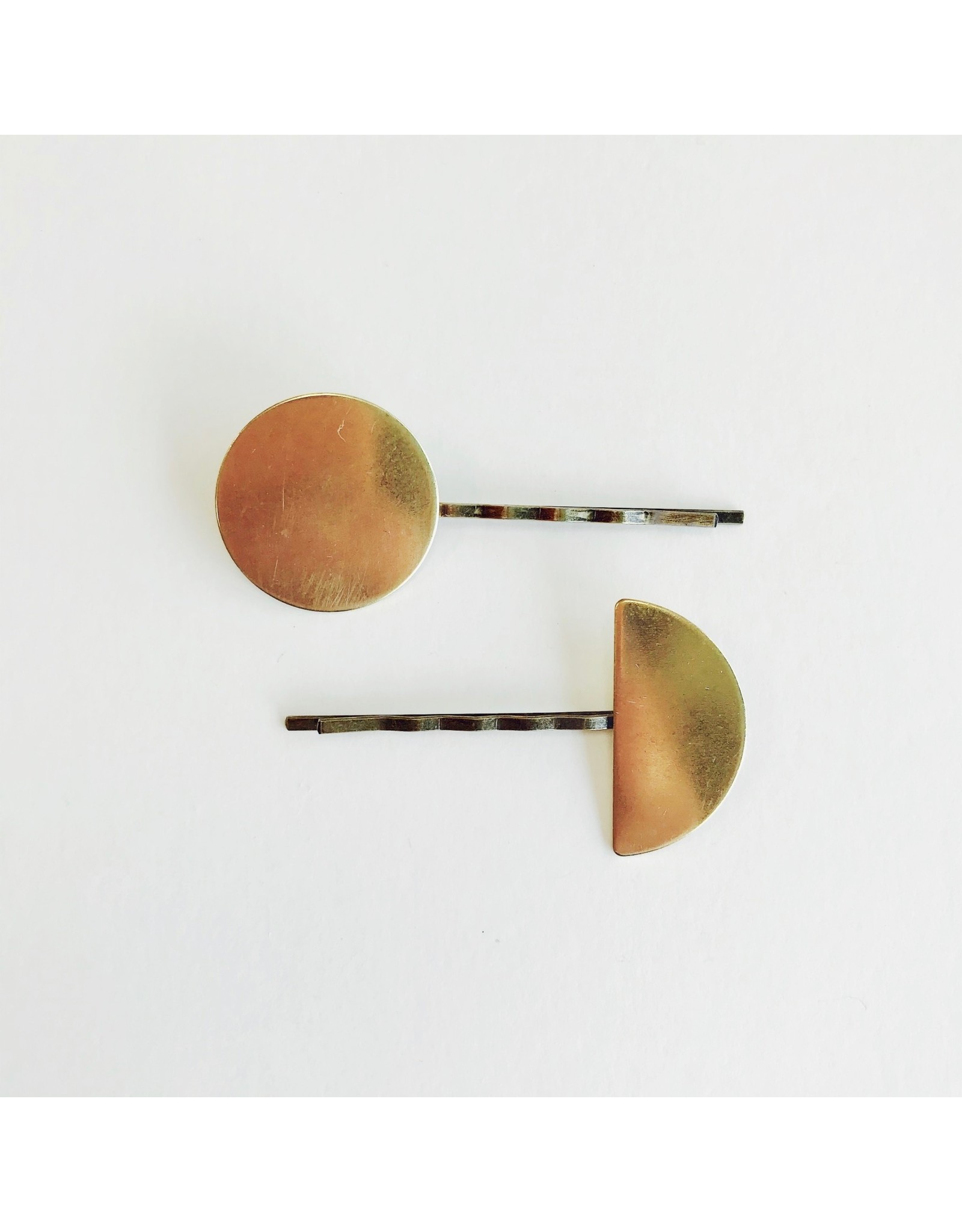 Brass Disc and Half Disc Hairclips