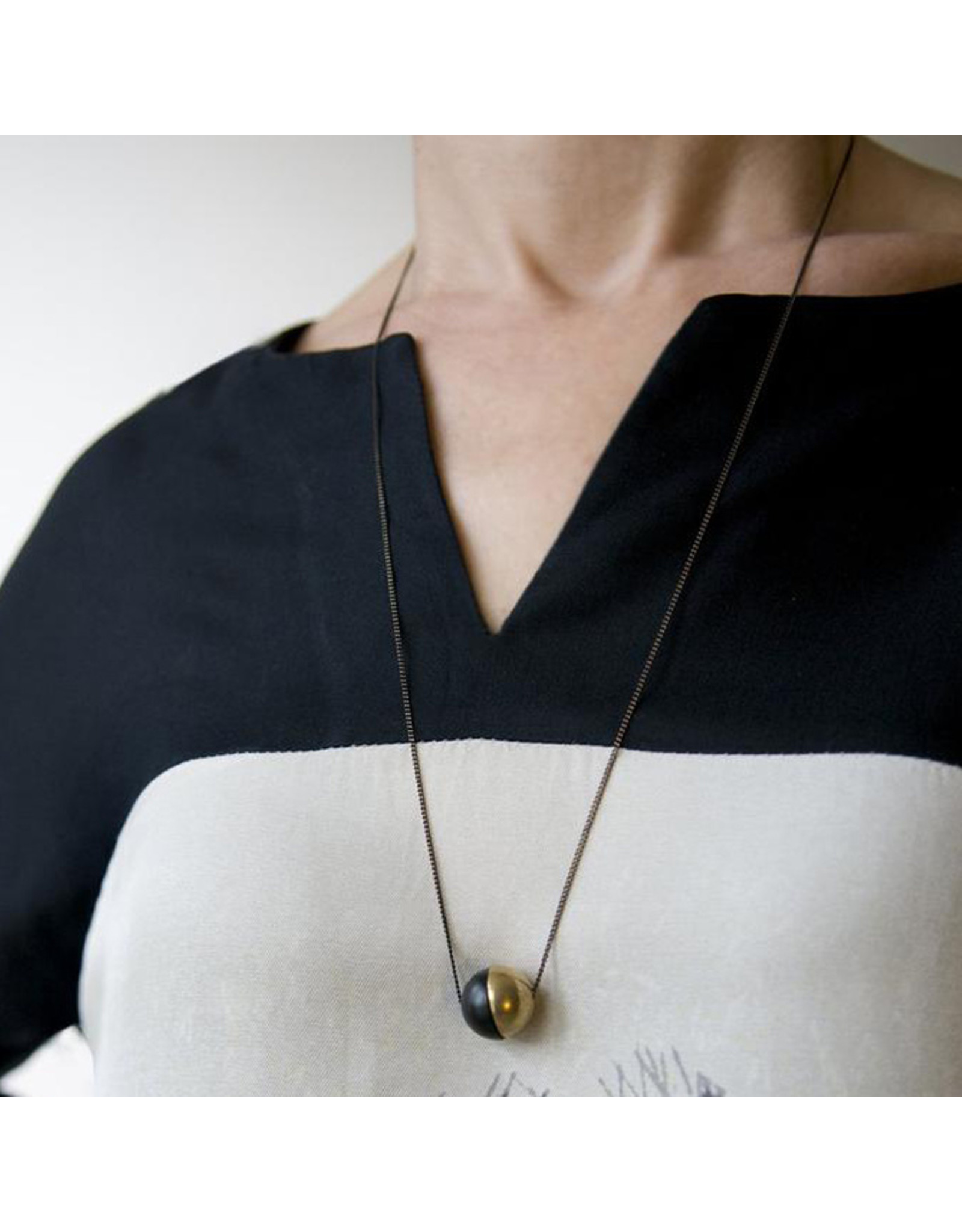 Black and Brass Demi Spheres Necklace