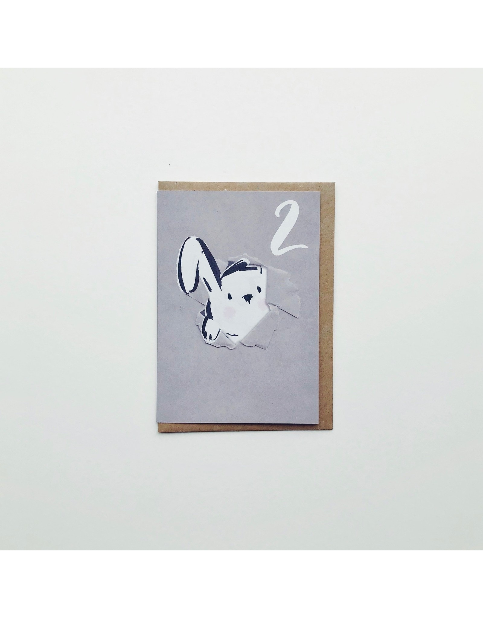 2nd Birthday Rabbit Greeting Card