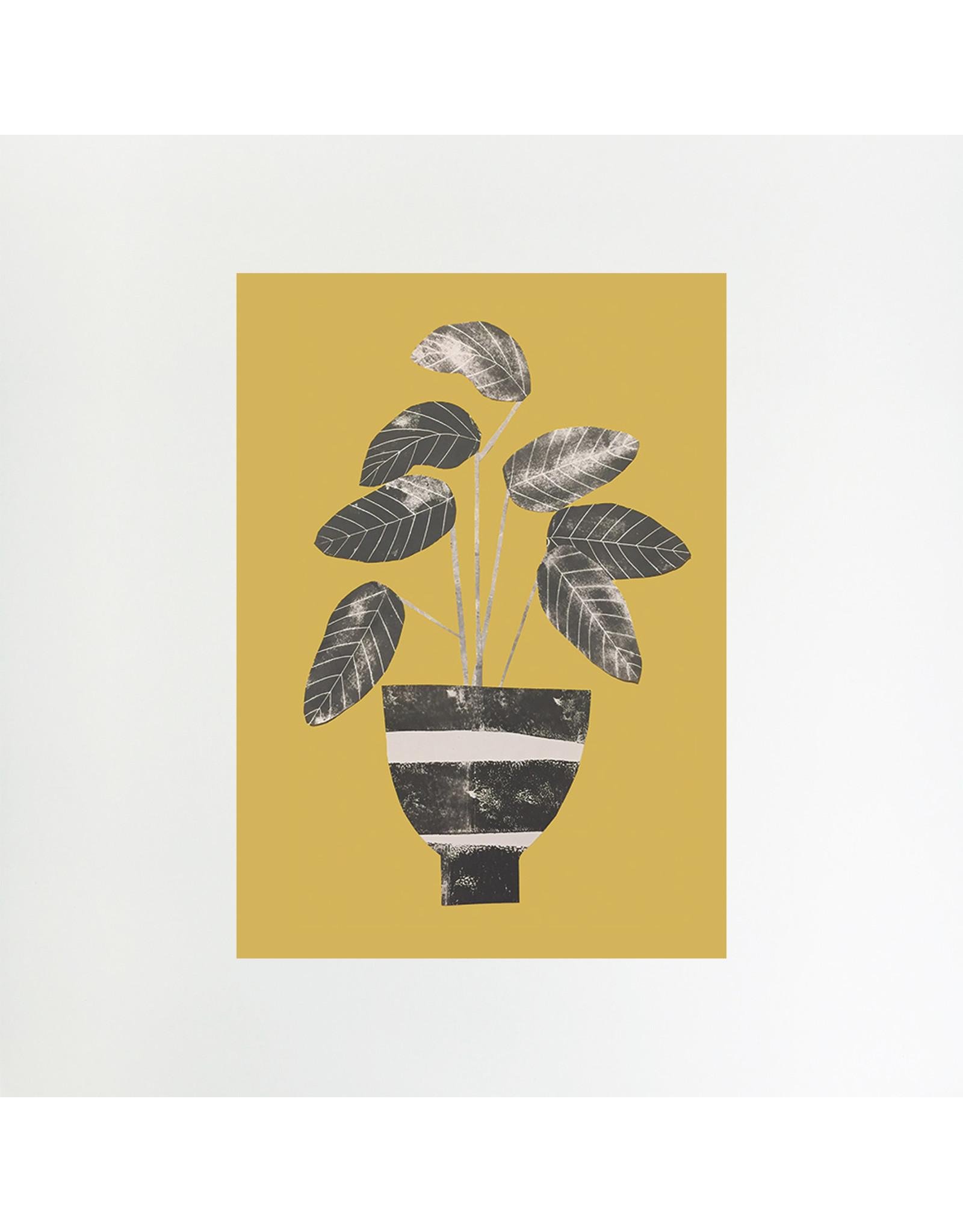 A4 Calathea on Mustard Print