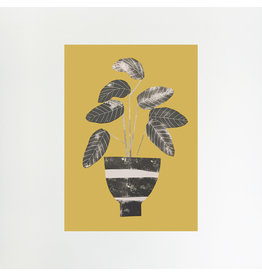 A4 Calathea on Mustard Print
