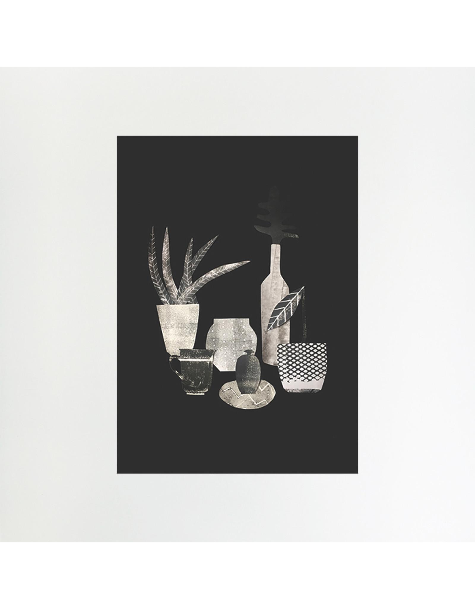 A4 Monochrome Bottles & Vase Print