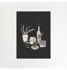 Monochrome Bottles & Vase A4 Print