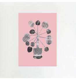 Pilea on Pink A4 Print