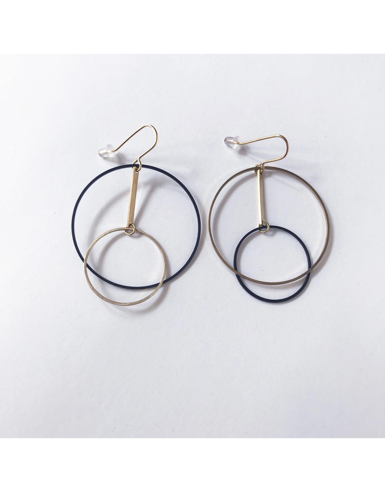 Brass & Black Circle Earrings
