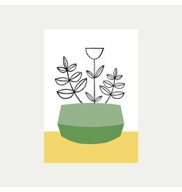 Green Plant Pot A4 Print