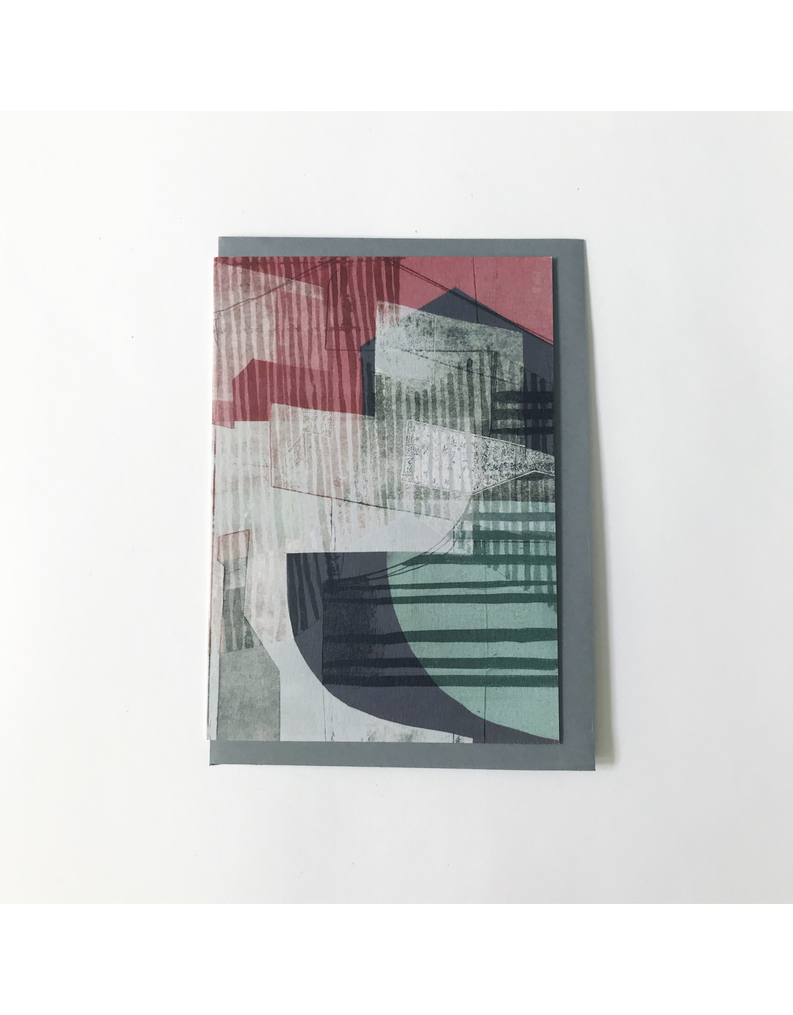 Abstract Greeting Card White & Green