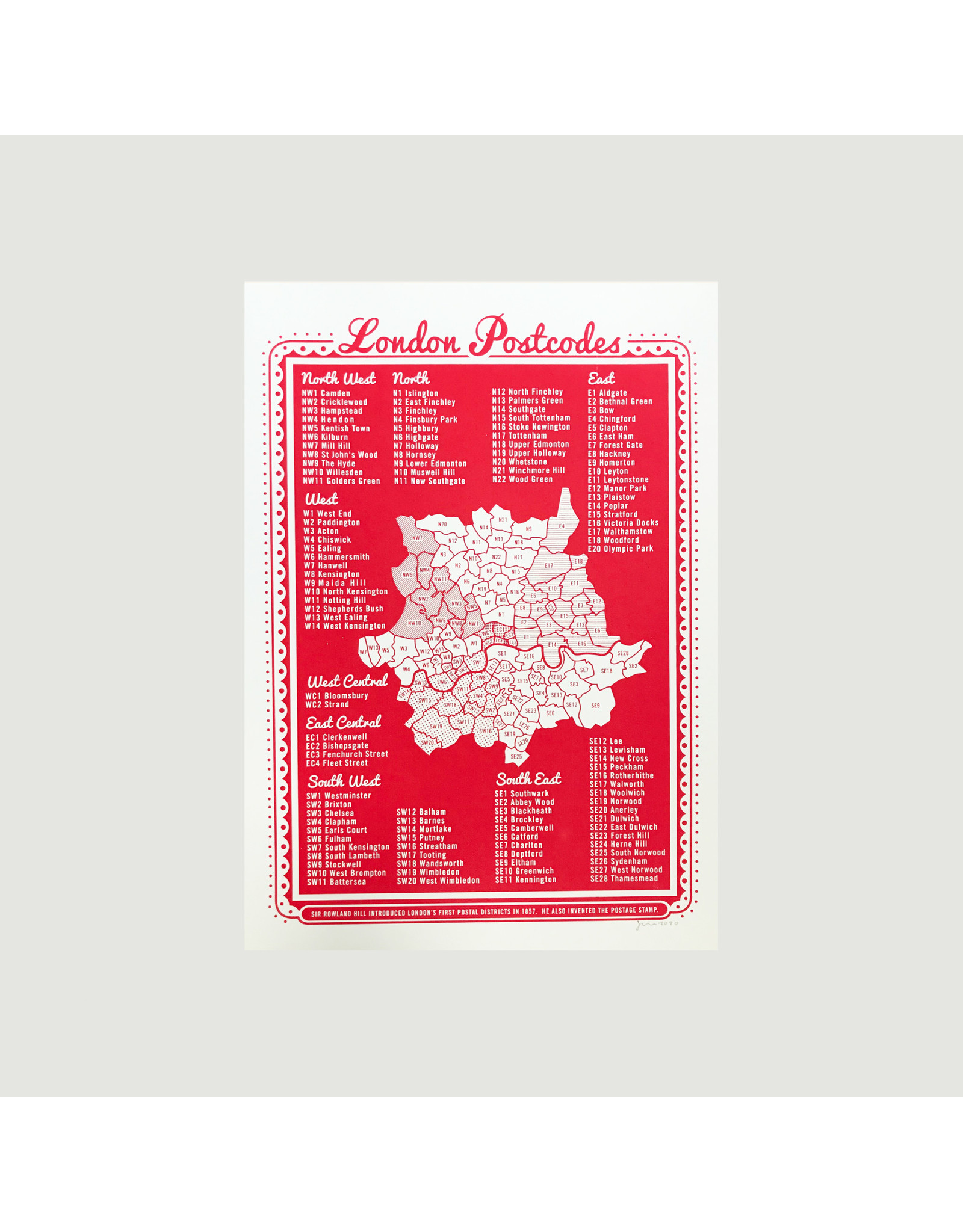 London Postcodes A3 Screenprint
