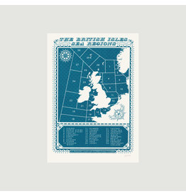 British Isles Shipping Regions A3 Screenprint
