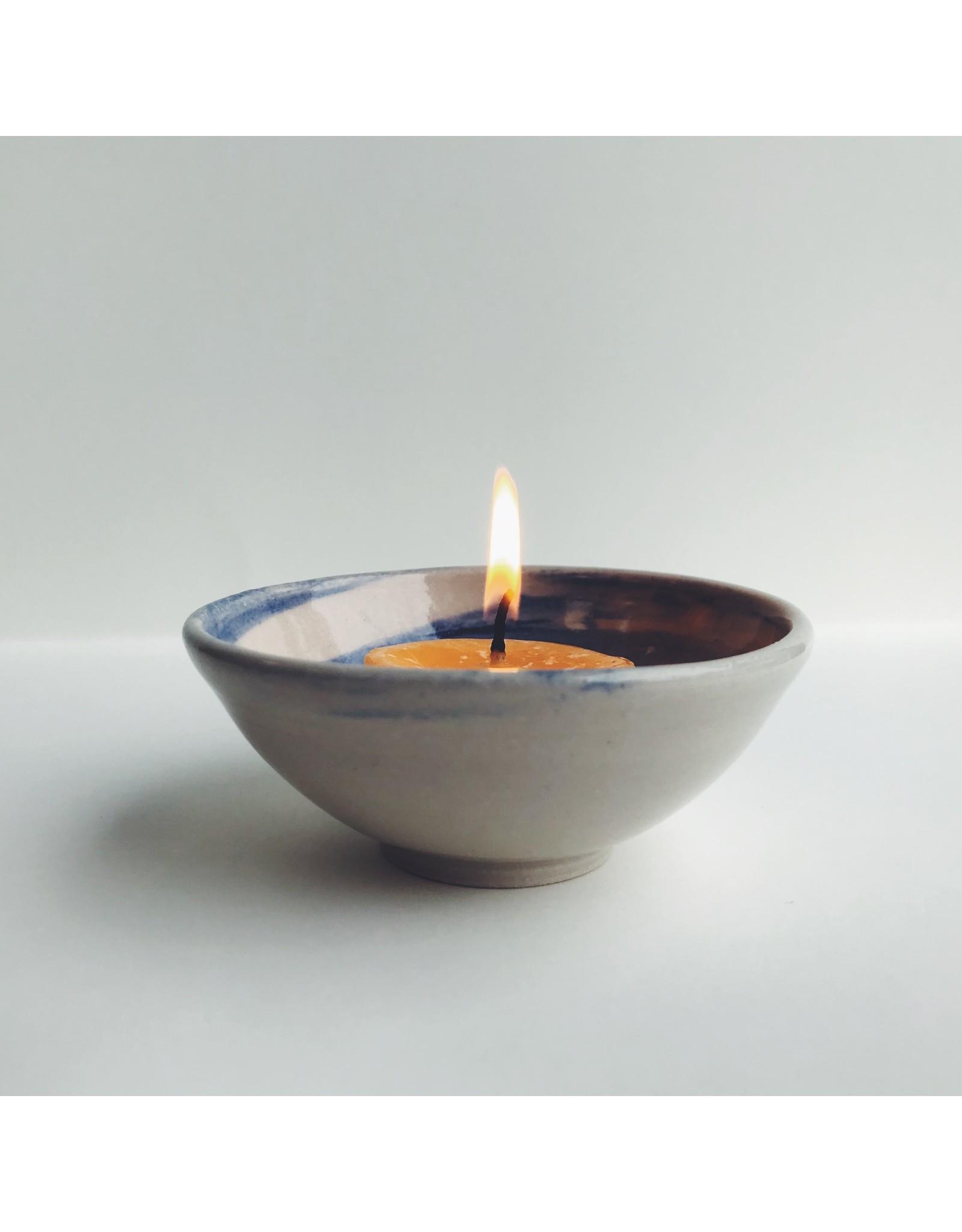 Blue & Natural White Ceramic Dish