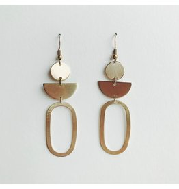 Oval Statement Brass Earrings