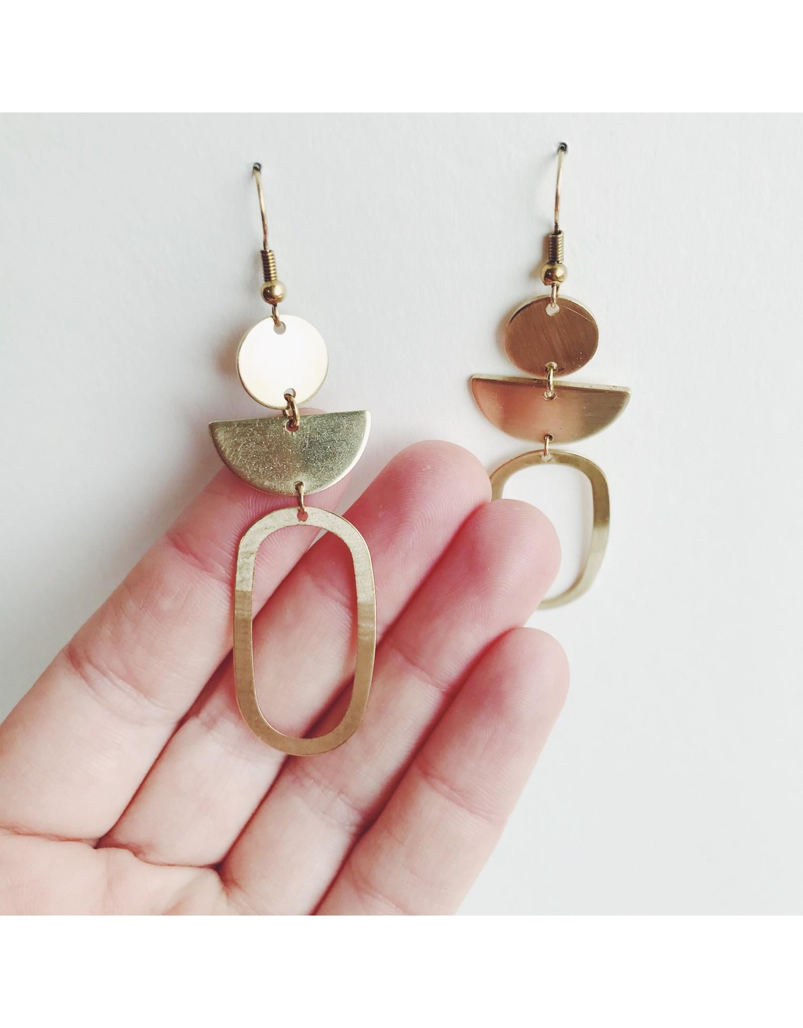 Oval Statement Brass Earrings