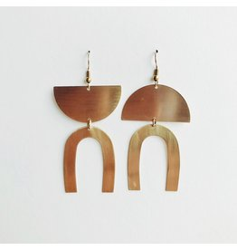 Mismatched Brass Statement Earrings