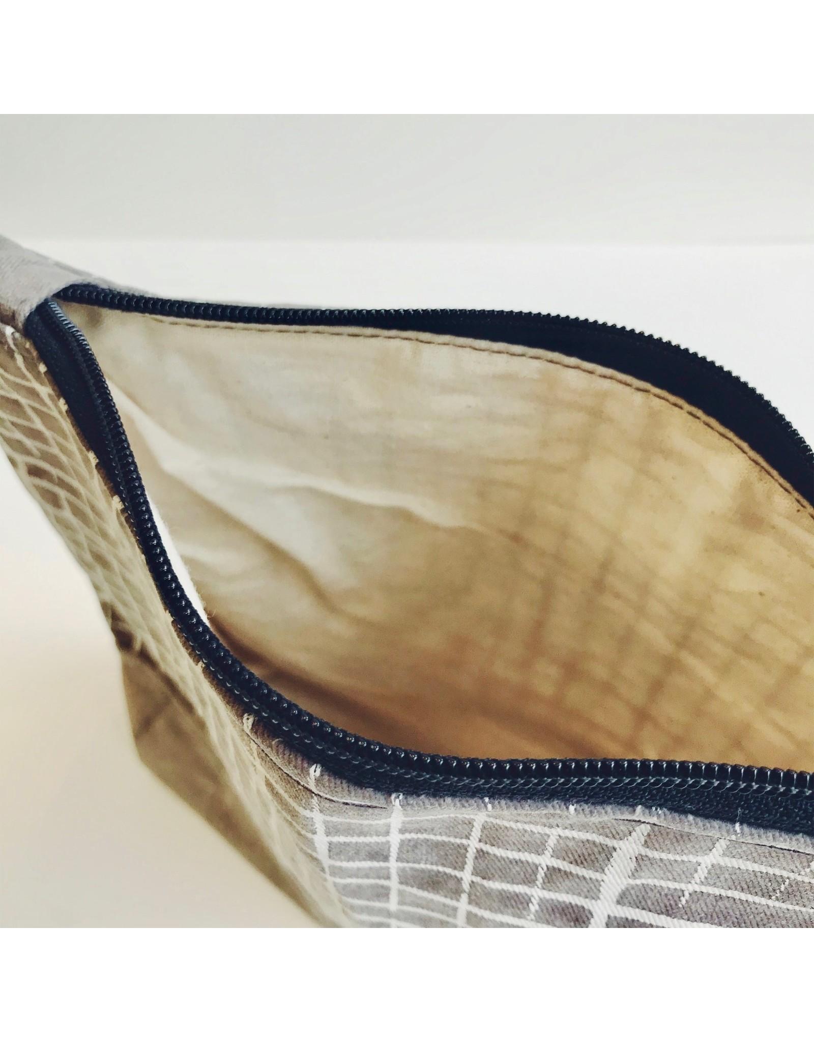 Grey Grid Waxed Canvas Wash Bag