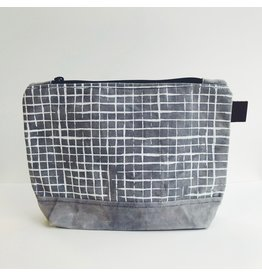 Grey Grid Waxed Canvas Wash Bag