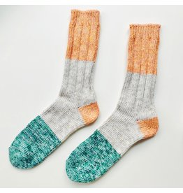 Recycled Cotton Socks Orange & Green